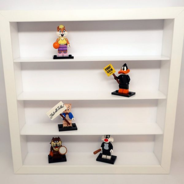 Biała półka na minifigurki LEGO, resoraki, figurki, żołnierzyki