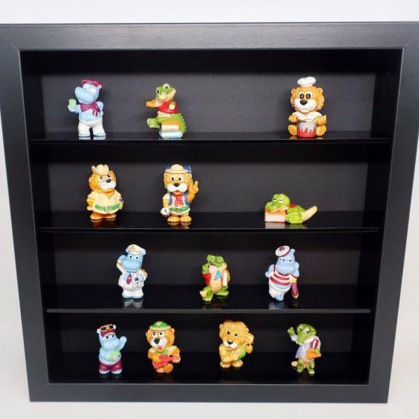 Czarna półka na minifigurki LEGO, resoraki, figurki, żołnierzyki