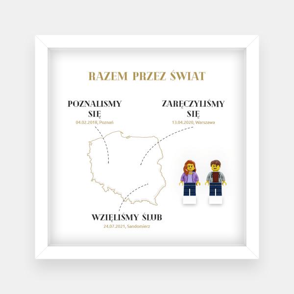 Ramka ślubna - mapa świata lub Polski